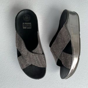 Fitflop Mules Pewter Crystal Slide Size 8 Silver